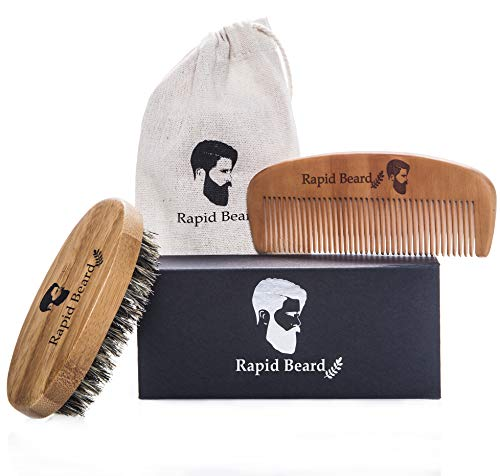 Beard Brush and Beard Comb kit for Men Grooming, Styling & Shaping - Handmade Wooden Comb and Natural Boar Bristle Beard Brush Gift set for Men Beard & Mustache Care by Rapid Beard by Rapid Beard (Image #4)