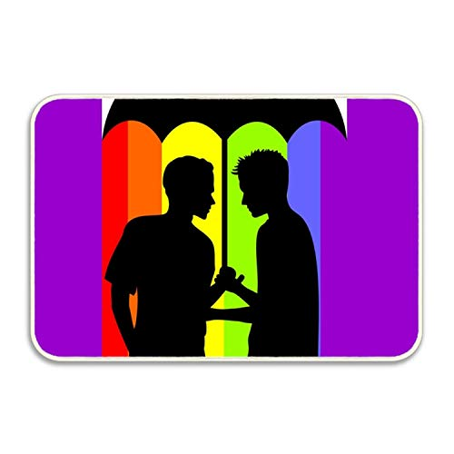 Gay Couple Under an Umbrella Entrance Doormat Friends Tv Show Card Indoor/Outdoor Decor Rug Doormat Inch Non-Slip Home Decor 16