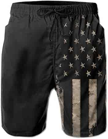 247ad4a98a23a TARDIGA Dark Black American Flag Mens Beach Shorts Swimming Trunks Quick  Drying Board Shorts with Mesh