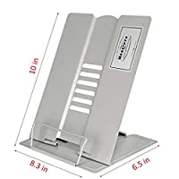 Ylucky Metal Book Stand Holder Bookrest Reading Frame Document Holder Adjustable Textbook Rack Support Myopia Prevention Display Tray with Paper Clip for Home Office Dorm Library