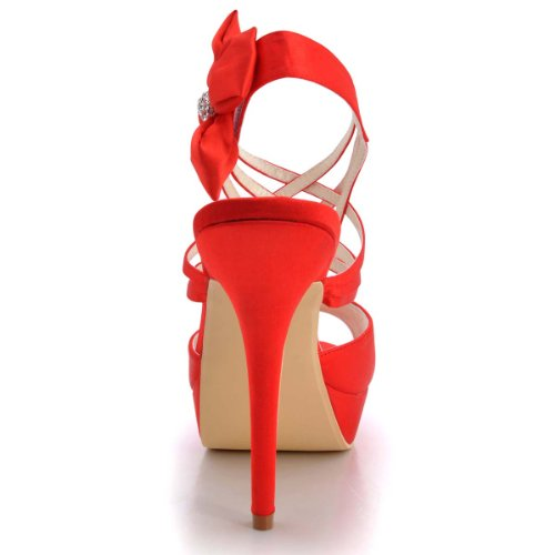 ElegantPark EP2031-PF Women Peep Toe Rhinestones Flowers Strappy Satin Wedding Sandals Court Shoes Red LE6DS