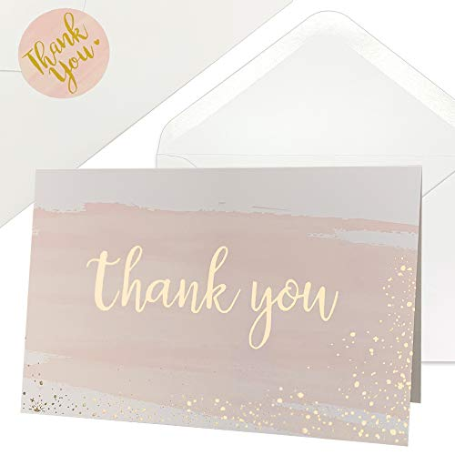 Thank You Cards for Baby Shower | Wedding | Bridal Shower | Business, 48 Blank Notes with Envelopes & Stickers, Gold Foil Watercolor Thank You Greeting Cards (Baby Thank Yous)