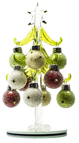 Tabletop Green Christmas Glass Tree with 12 Round Multicolored Glittered Removable Ornaments - Christmas Holiday Décor Collection, 6