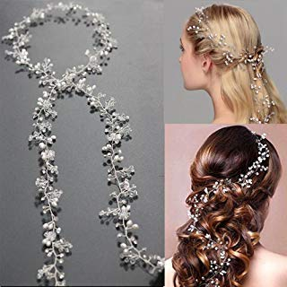 Xiaolanwelc@ Women Silver Wedding Pearls Hairpins Crystal Vine Bridal Head Wear Hair Accessories Diamond Headpiece