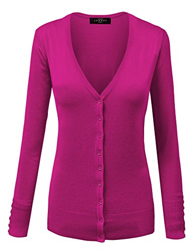 MBJ Womens Keep It Classic V Neck Cardigan M FUCHSIA
