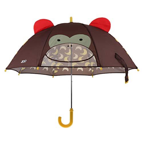 Prettyia Children Umbrella Animation Creative Long-Handled 3D Ear Modeling Kids Umbrella - Monkey, 60cm (Creative Umbrella)
