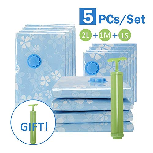 Foldable Storage Bags - 5pcs Set Thickened Vacuum Bag With Hand Air Pump Space Saver Reusable Clothes Quilt Compressed - Foldable Blanket Storage Bags Clothes