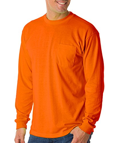 Bayside Mens Long-Sleeve Tee With Pocket (1730) -BRIGHT ORA -4XL ()