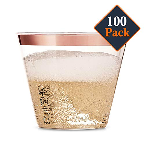 100 Rose Gold Plastic Cups - 9 Oz Disposable Decorations Rose Gold Cups - Party Drinking Glasses for Wedding, Baby & Bridal Shower, Engagement, Cocktail