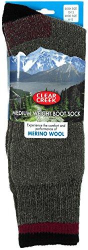 Clear Creek Men's Merino Wool Medium Weight Thick Over-Calf Boot Socks 4 Colors (Gray-Maroon)