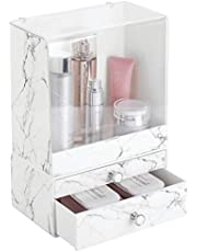 mDesign Set of 2 Cosmetic Organiser — Makeup Organisers for Dressing Table, Wardrobe and More — Versatile Makeup Storage Units — Marble