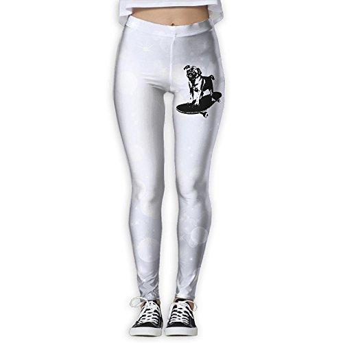 Vcfeee7 Women's Full Length Wire-Free Pants Skateboard Pug Puppy Dog Leggings