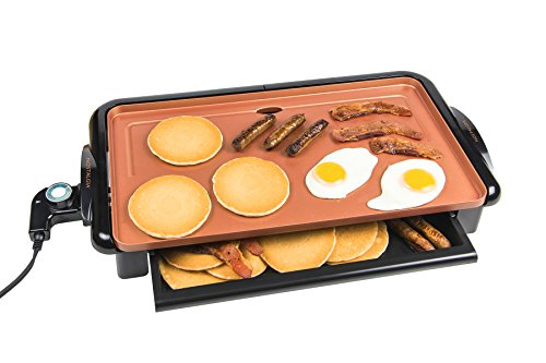 Nostalgia GD20C Copper Ceramic Non-stick Griddle with Warming - Jumbo Display Fan
