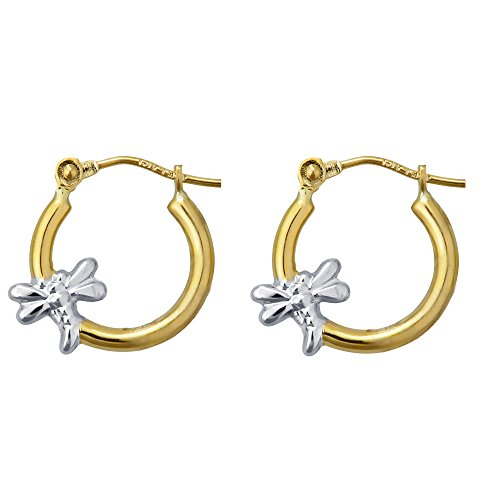 Decadence Women's 14k Two-Tone Gold Polished Dragonfly Hoop Earrings
