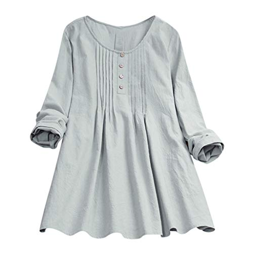 POQOQ Tops Women Casual Plus Size Solid Loose Linen Button Tunic Shirt Blouse(Green,3XL)]()