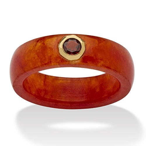 Genuine Red Jade and White Bezel-Set Topaz Accent 10k Yellow Gold Ring Size 6 (Set Jewelry Yellow Garnet)
