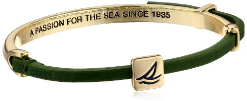 """Sperry Top-Sider """"All Aboard"""" Gold-Tone and Green Leather """"Boat in Box"""" Charm Bracelet"""