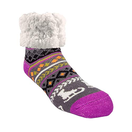 Pudus Skate Purple Cozy Winter Slipper Socks for Women and Men with Non-Slip Grippers and Faux Fur Sherpa Fleece - Adult Regular Fuzzy Socks (Gifts Ska Christmas)