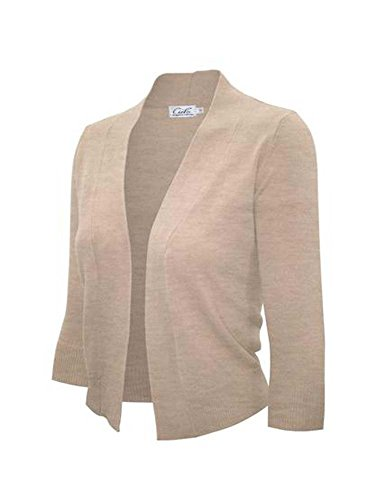 Enimay Bolero Cardigan Three Quarter Sleeve Khaki Size X-Large
