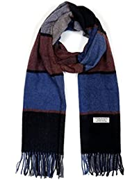 Mens Wool Scarf, Faurn Fashion Plaids Stripes Long Wool Warm Neck Scarves