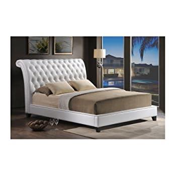 Amazoncom Baxton Studio Bianca White Modern Bed with Tufted