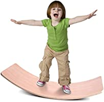 Jungle Wooden Wobble Balance Board Waldorf Toys Balance Board Kid Yoga Board Curvy Board - Wooden Rocker Board 32 Inch...