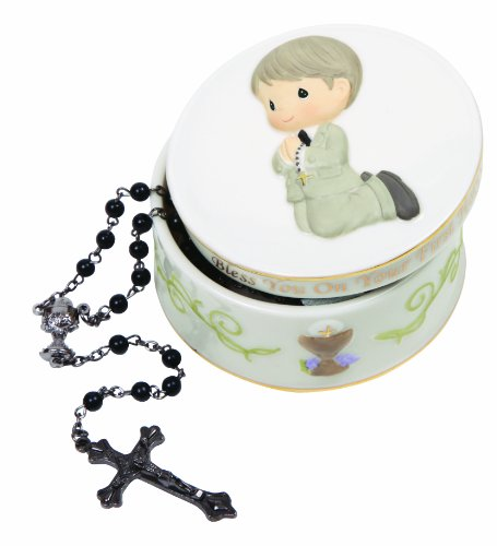 """Precious Moments, Communion Gifts, """"God Bless You On Your First Holy Communion"""", Boy, Bisque Porcelain Rosary Box With Rosary, #133412"""