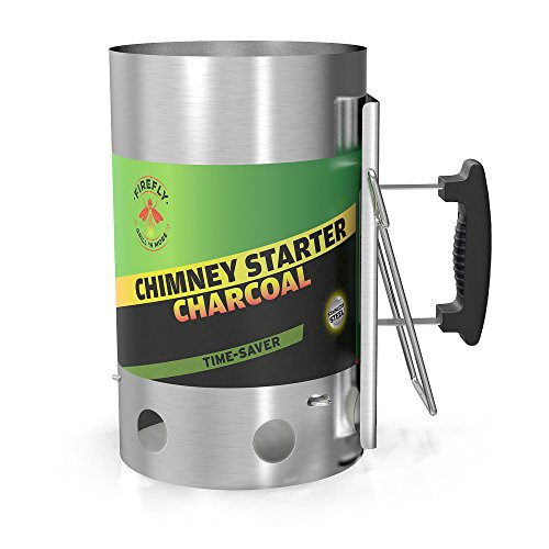 Fire Starter Chimney (Charcoal Chimney Starter, Charcoal Cooker, Stainless Steel Charcoal Chimney Starter By Firefly Grill 'N More - No Lighter Fluid, 5 LB. Charcoal Capacity, Heat Resistant Handle)