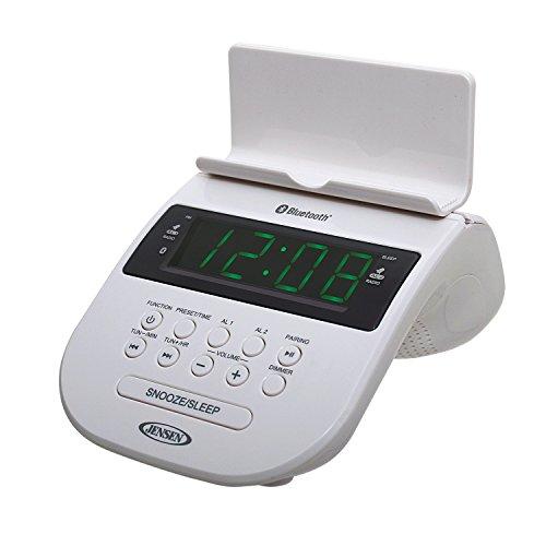 JENSEN JCR-295-W Bluetooth Clock Radio with Cellphone Holder