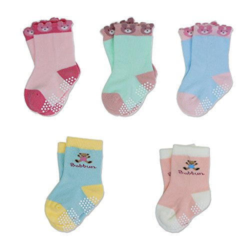 Baby-Toddler-Kids-Antiskid-Socks-Non-Anti-Slip-5-Pairs-Cotton-Sock-for-Girls-Boys-Cartoon-Bear