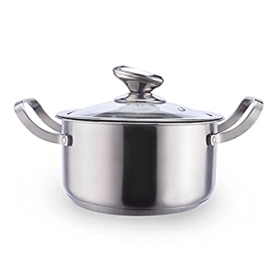 WENJUN Stainless Stockpot With Cover Binaural Saucepan Small Steamer Pot Cookware Thicken Double Induction Cooker Milk Pot Soup Steamer Household