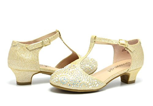 Dream Pairs SURI-II Angel Rhinestone Dress Low Heel Pumps Sandals Shoes(Toddler/ Little Girl) New