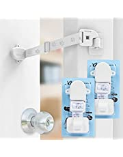 2 Packs Neobay Adjustable Door Strap and Latch with Magnetism, Keep Dog Out of Litter Box, Simplest Way (Installs in Seconds ) Instead of Pet Gates, and Interior Cat Door.