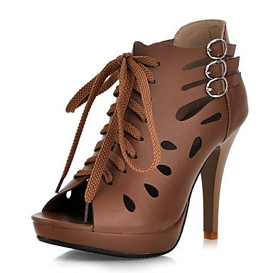 Le donne sexy elegante sandali donna tacchi Primavera Estate Autunno scarpe Club PU Office & Carriera Party & abito da sera Stiletto Heel Lace-up Beige cammello , beige , us7.5 / EU38 / uk5.5 / CN38