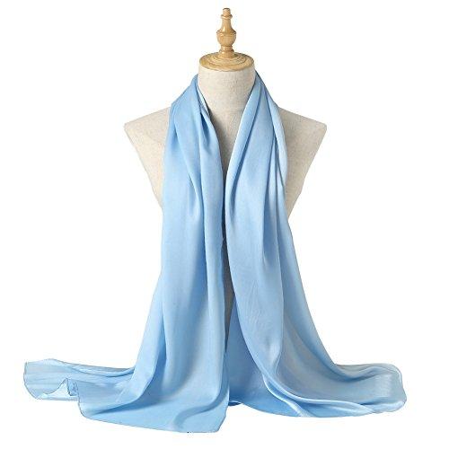 Bellonesc Silk Scarf 100% silk Long Lightweight Sunscreen Shawls for Women (light blue) (Blue Silk Long Scarf)