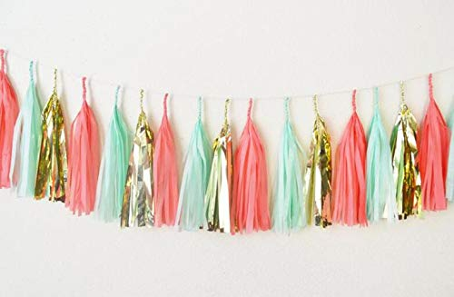 3 Pack 15 Pcs 14 inch Mint Coral Gold Streamers, Party, Tassle, Tissue Paper Tassels, Tassel Garland Wedding Banner Bunting Baby Shower Birthday Party Decoration -