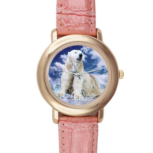 Gifts for Girls/Ladies Roar Polar Bear Pink Leather Alloy Watch