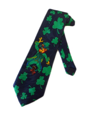 Leprechaun Tie - Steven Harris Mens St Patricks Day Leprechaun Necktie - Blue - One Size Neck Tie
