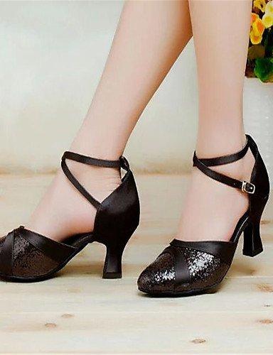 Chaussures danse Noir Chunky femmes Latin Noir Rouge Argent Or de pour Heel ShangYi Satin Violet d4ERwxa6dq