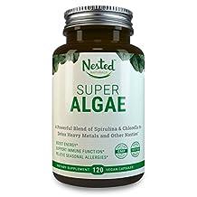 SUPER ALGAE - Spirulina 250mg + Chlorella 250mg Organic | Boost Immunity & Gut Health, Organic Cleanse, Fight Seasonal Allergies - Antioxidant Superfood Capsule: Blue-Green Algae, Green Algae