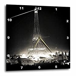 3dRose dpp_77379_1 Eiffel Tower Illuminated Paris Exposition 1900 Black & White Wall Clock, 10 by 10
