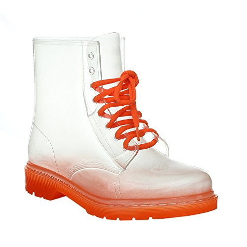 EASOS GEAL STU01 Women's Fashionable Lace-up Jelly Ankle High Martin Rain Boots, Runs TWO Size Small, Color:ORANGE, Size:7