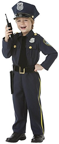 Cops and Robbers Party Navy Blue Police Officer Costume, Fabric, Children's Toddler (3-4), 5-Piece Set