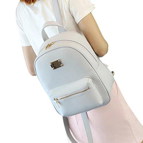 Vintage PU Leather Zip Closure Backpack Concise School Bag Shoulder Soild Color Travel Bag with Metal Decoration for Girls,Women
