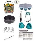 Mery Instant Pot Accessories Set Fits 6,8Qt Pressure Cooker 11-PCS Steamer Basket, Rack, Egg Bites Molds, Springform Pan, Tongs, 2 Magnetic Cheat Sheets
