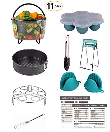 Mery Instant Pot Accessories Set Fits 6,8Qt Pressure Cooker 11-PCS Steamer Basket, Rack, Egg Bites Molds, Springform Pan, Tongs, 2 Magnetic Cheat Sheets, Oven Mitts, Dish Clip, Whisk