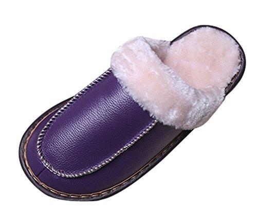Pantofole Da Donna Cattior Foderate In Pelliccia Di Seta Calda Pantofole Di Casa Viola