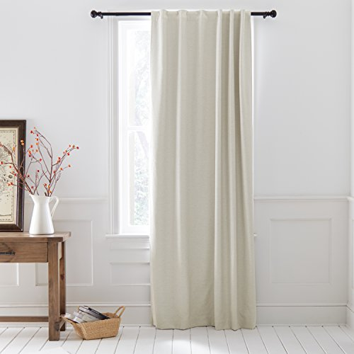 Stone & Beam Blackout Herringbone Linen Curtain Panel with Back Tab - 52 x 96 Inch, Aqua Blue