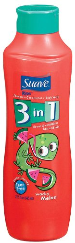 Suave Kids 3-in-1 Shampoo, Conditioner & Body Wash, Wacky Melon 22.5 oz (Pack of 3) by Suave