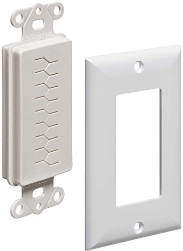 Arlington Industries CED130WP-2 1-Gang Cable Entry Device with Slotted Cover and Wall Plate (Pack of 2), White